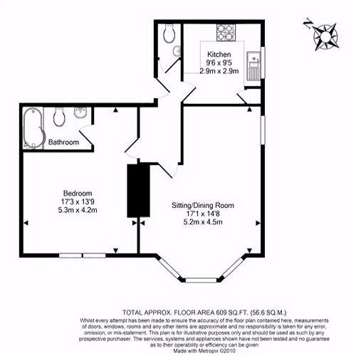 Floorplan for the property 2 bed Apartment for sale in Rosedale Lodge, Chase Side, London, N14 - 1