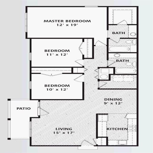 Floorplan for the property 3 bed Apartment for sale in Rosedale Lodge, Chase Side, London, N14 - 1