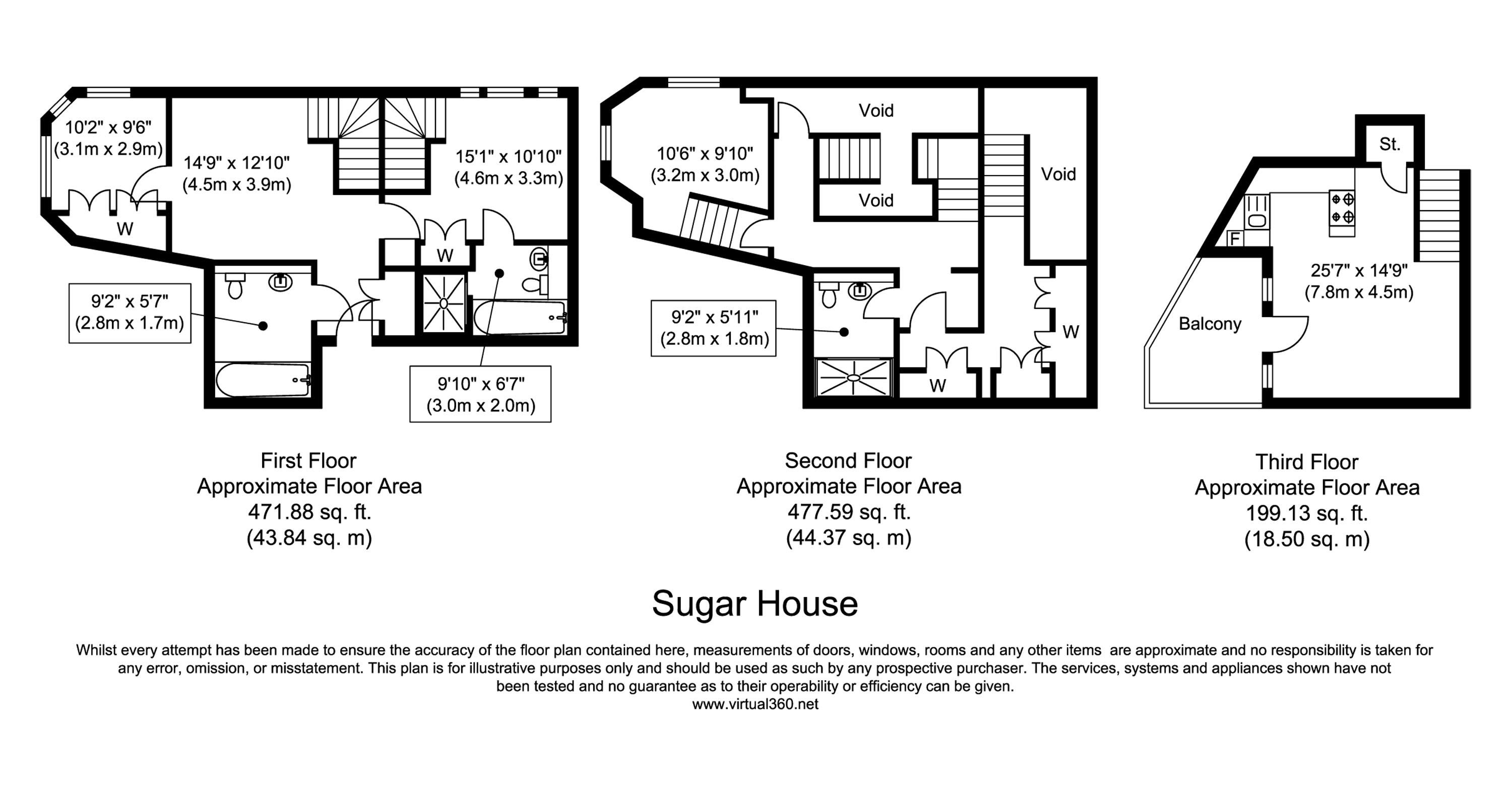 Floorplan for the property 3 bed Apartment to rent in Sugar House, London E1 - 1