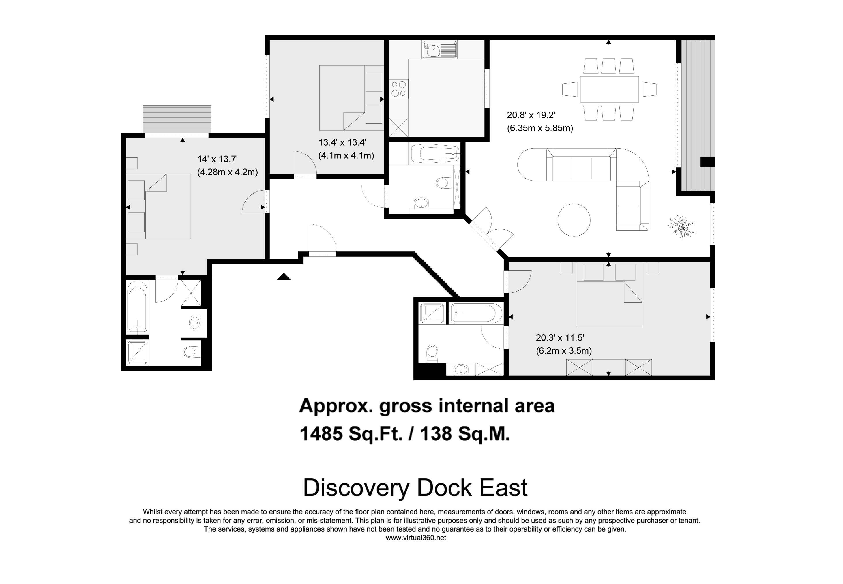 Floorplan for the property 3 bed  for sale in Mint Walk, Croydon, CR0 - 1