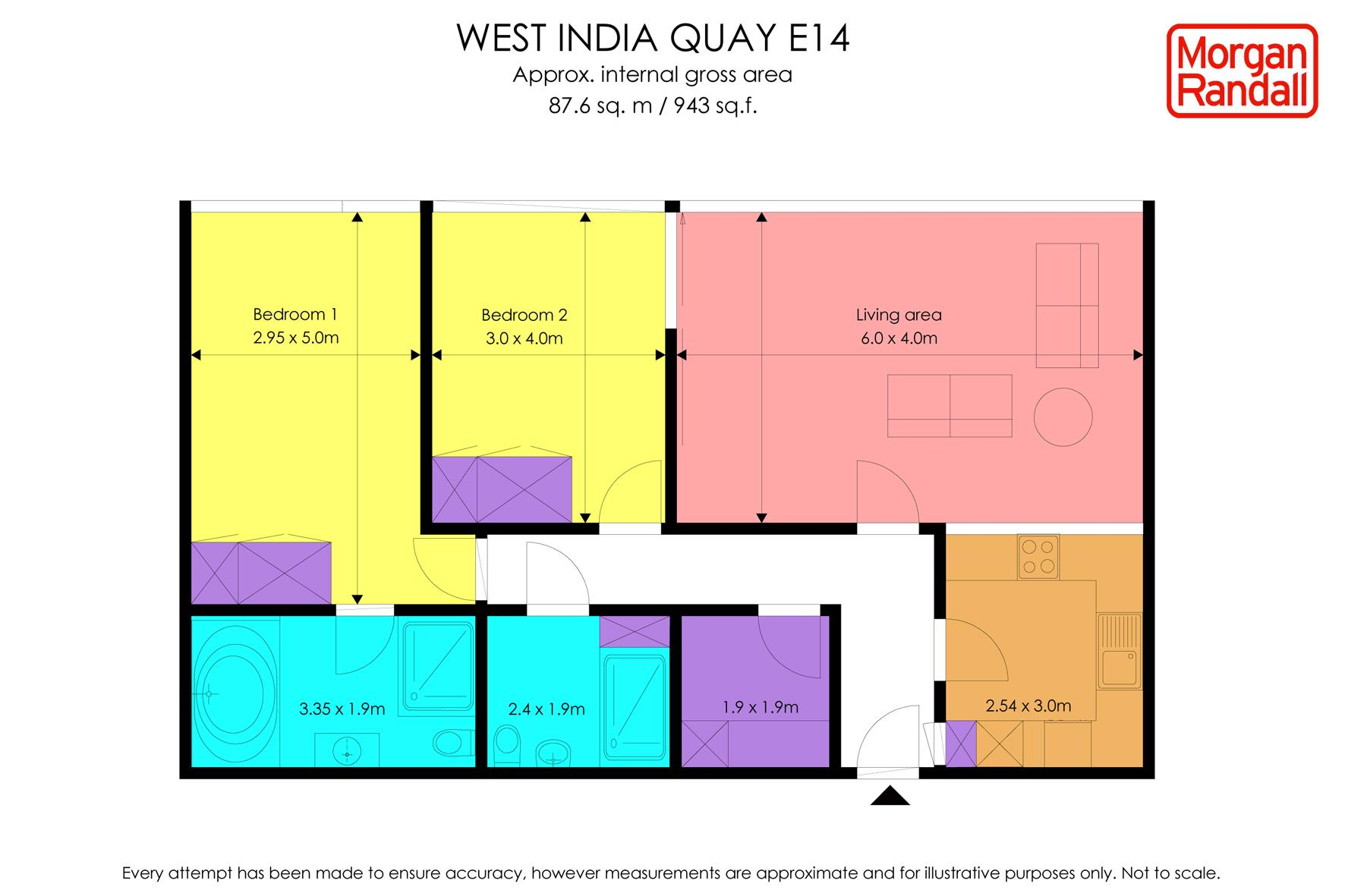 Floorplan for the property 2 bed Apartment to rent in West India Quay, London, E14 (SHORT LET) - 1