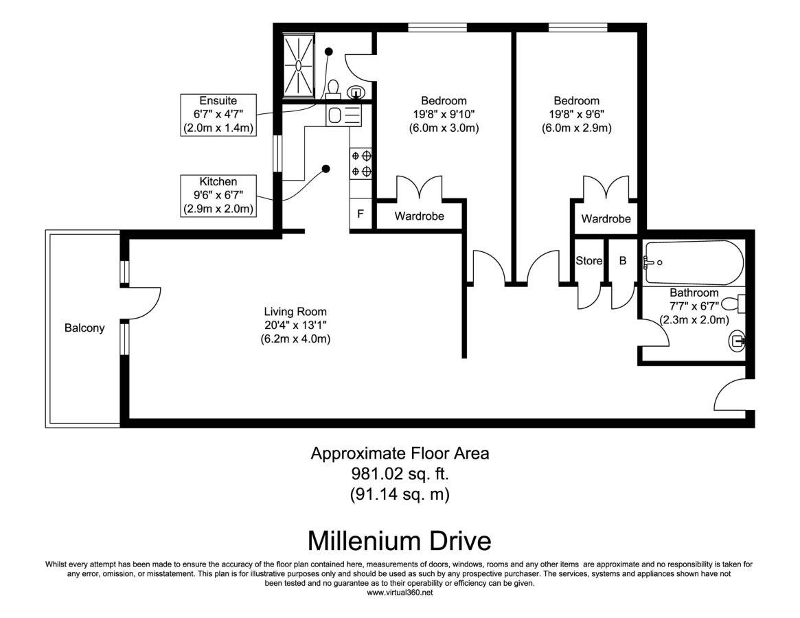 Floorplan for the property 2 bed Apartment to rent in Mint Walk, Croydon, CR0 - 1