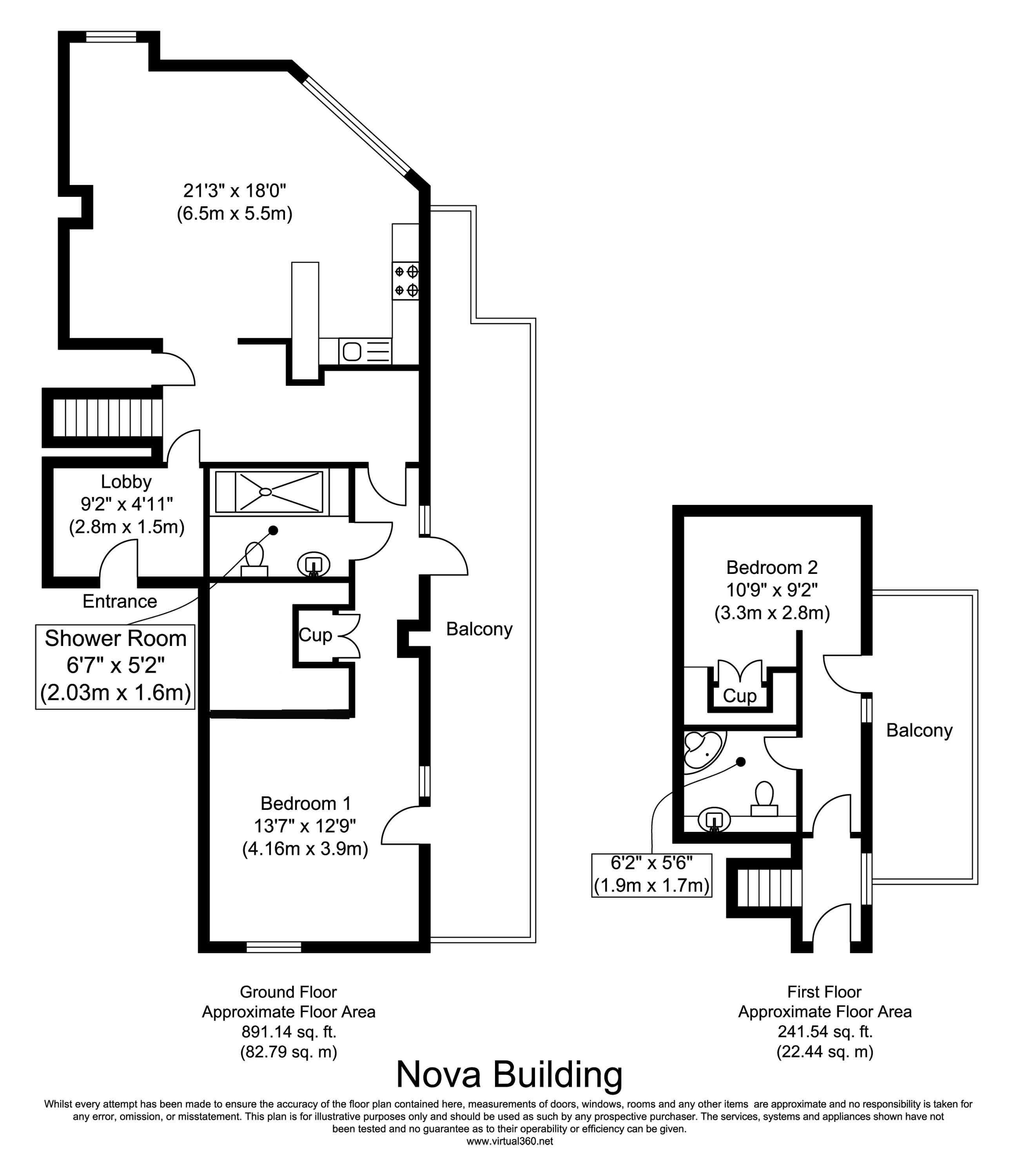 Floorplan for the property 2 bed Apartment for sale in Mint Walk, Croydon, CR0 - 1