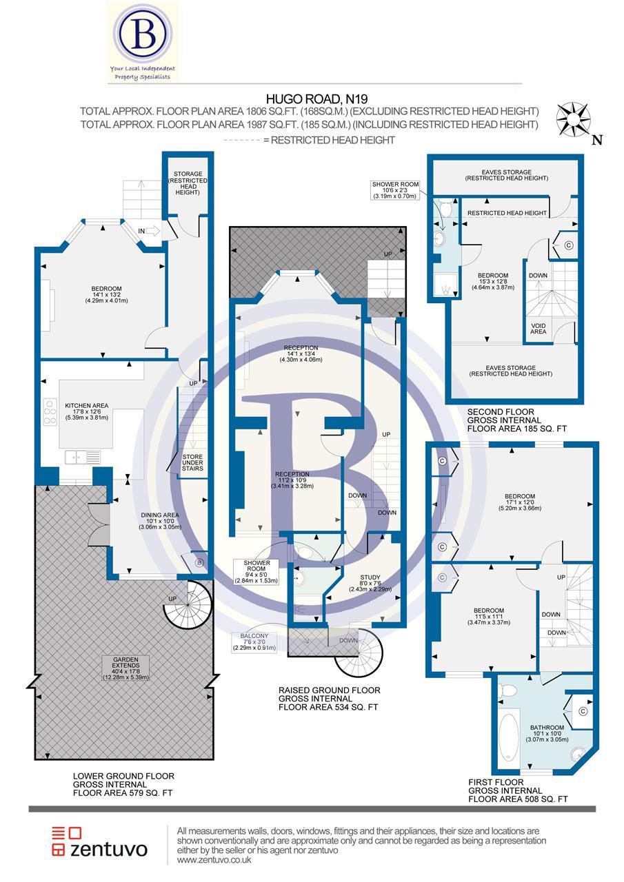 4 bed house for sale in Hugo Road, London - Property Floorplan