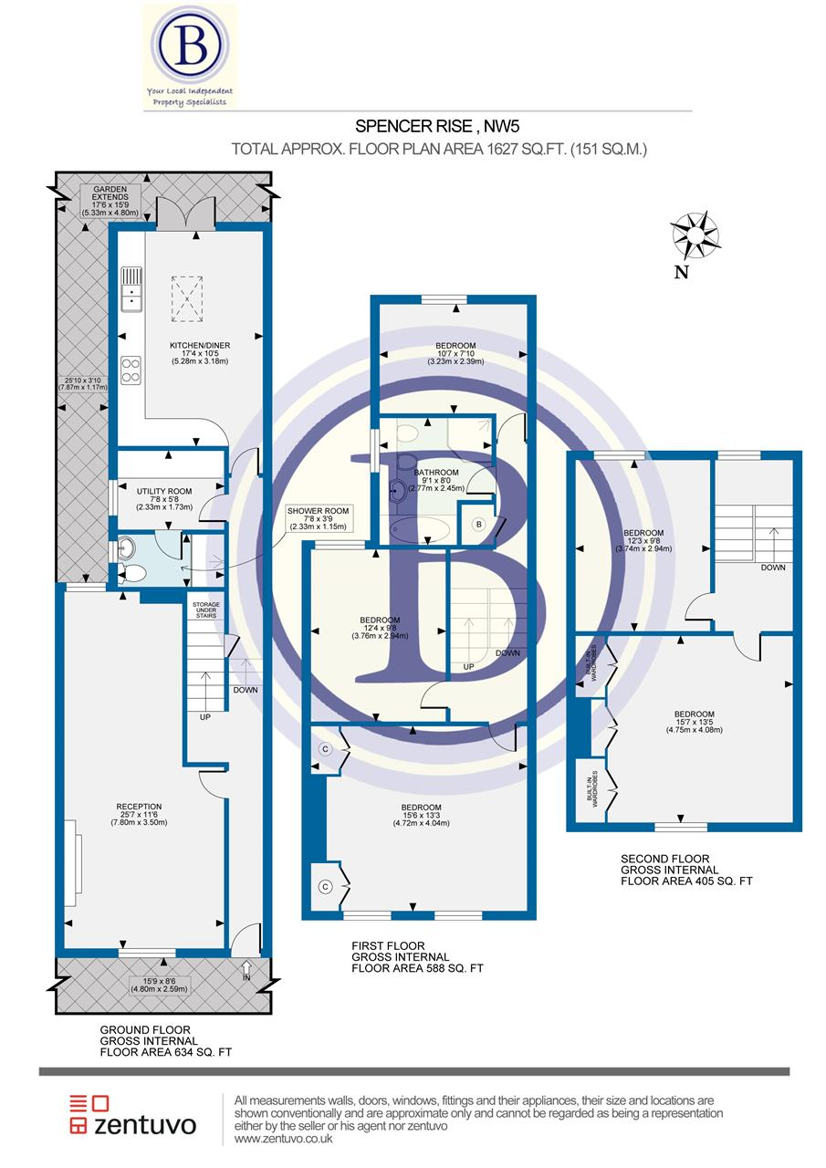 5 bed house for sale in Spencer Rise, London - Property Floorplan