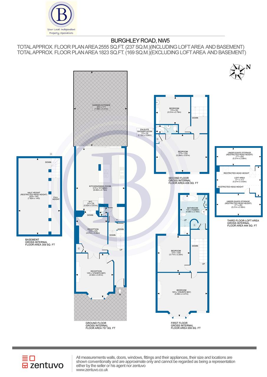 4 bed house for sale in Burghley Road, London - Property Floorplan