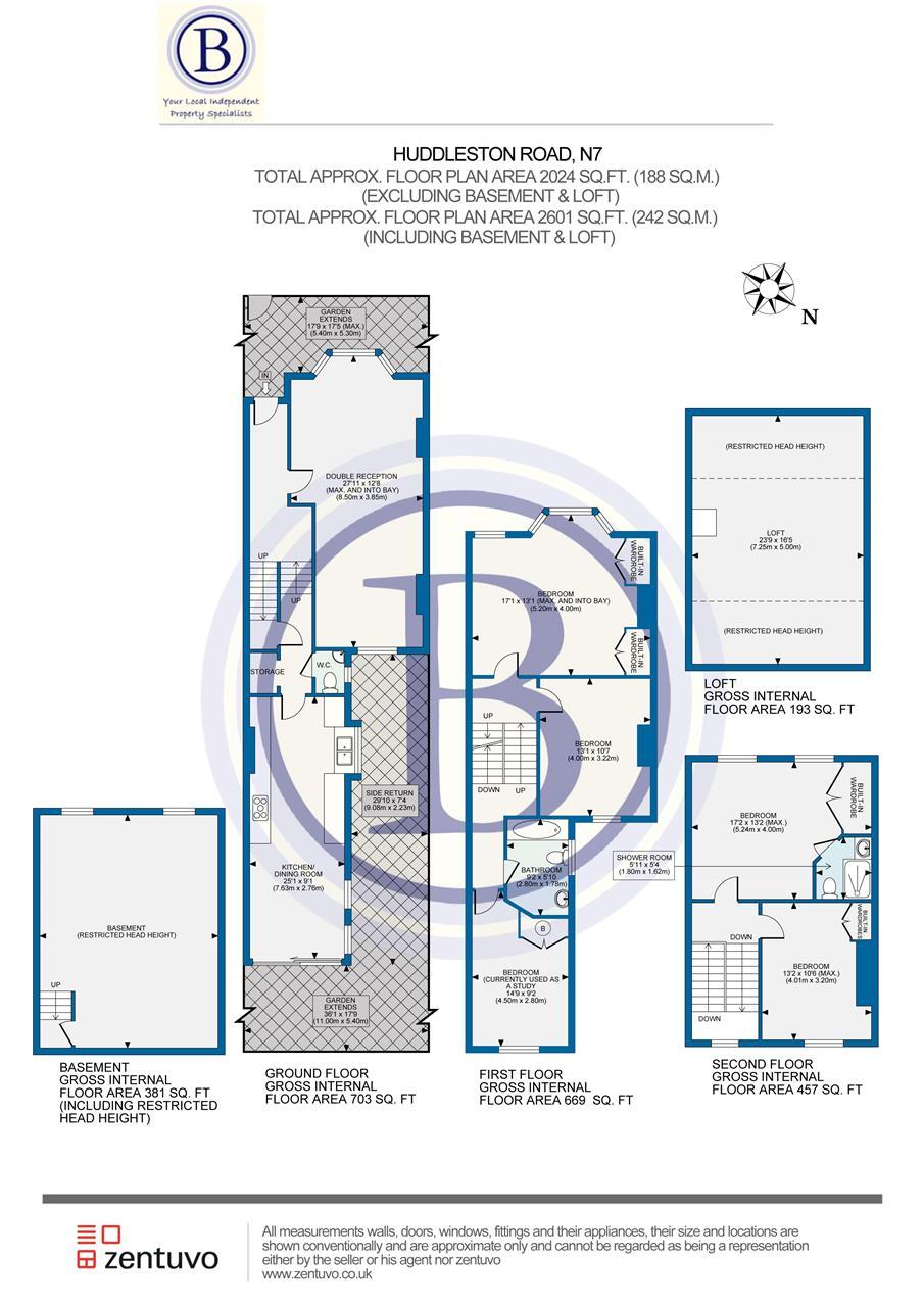5 bed house for sale in Huddleston Road, London - Property Floorplan