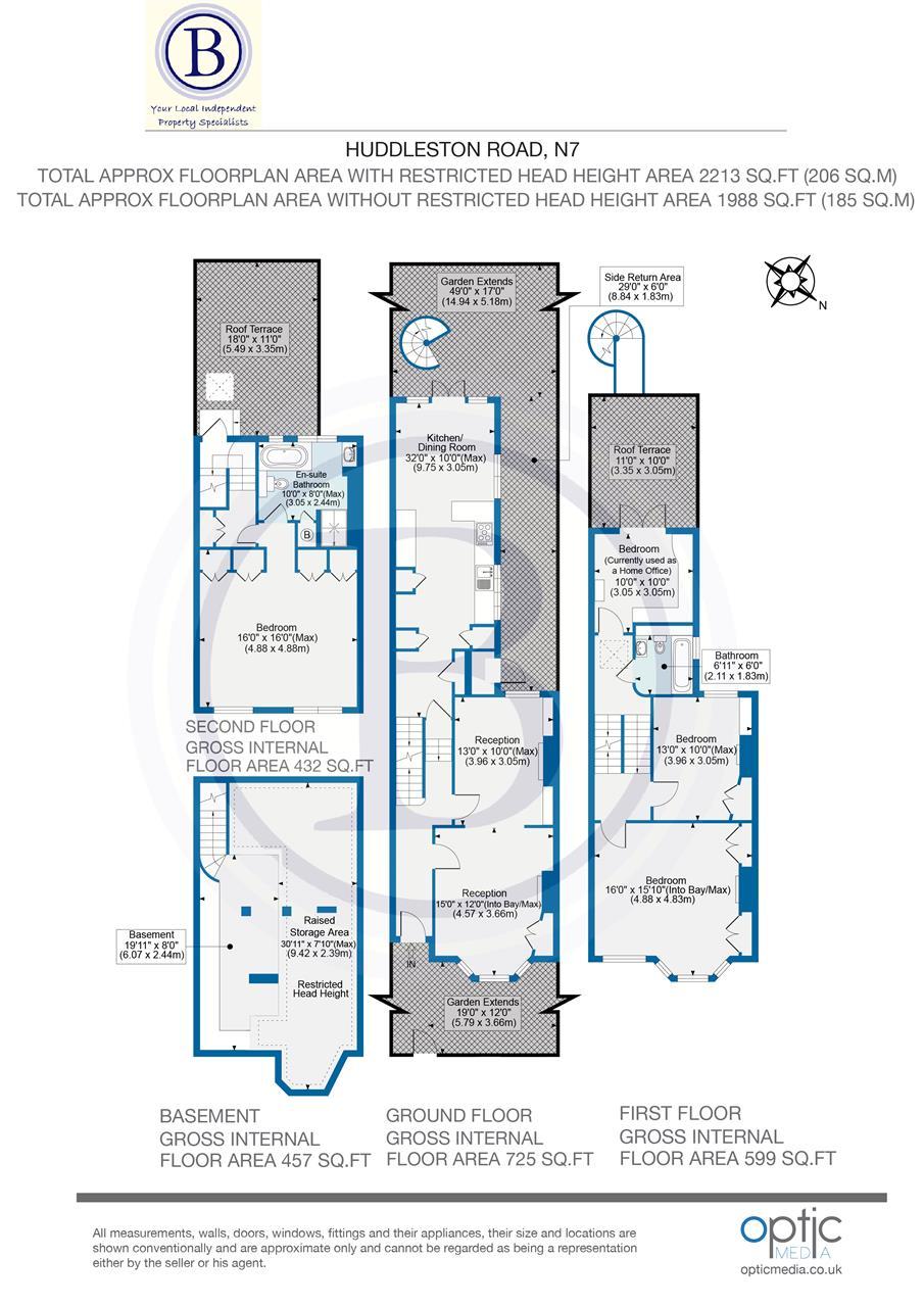4 bed house for sale in Huddleston Road, London - Property Floorplan