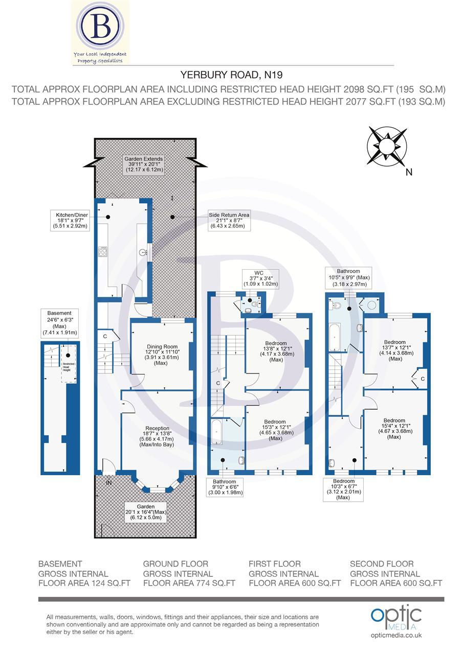 5 bed terraced for sale in Yerbury Road, London - Property Floorplan