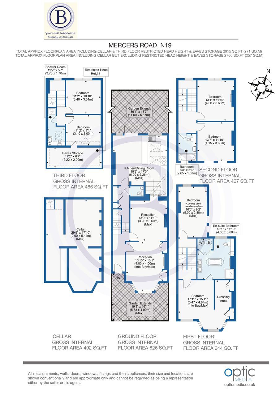 6 bed terraced for sale in Mercers Road, London - Property Floorplan