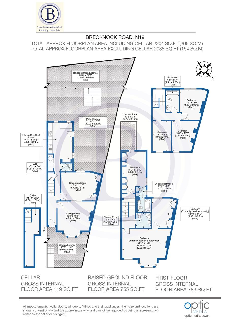 6 bed terraced for sale in Brecknock Road, London - Property Floorplan