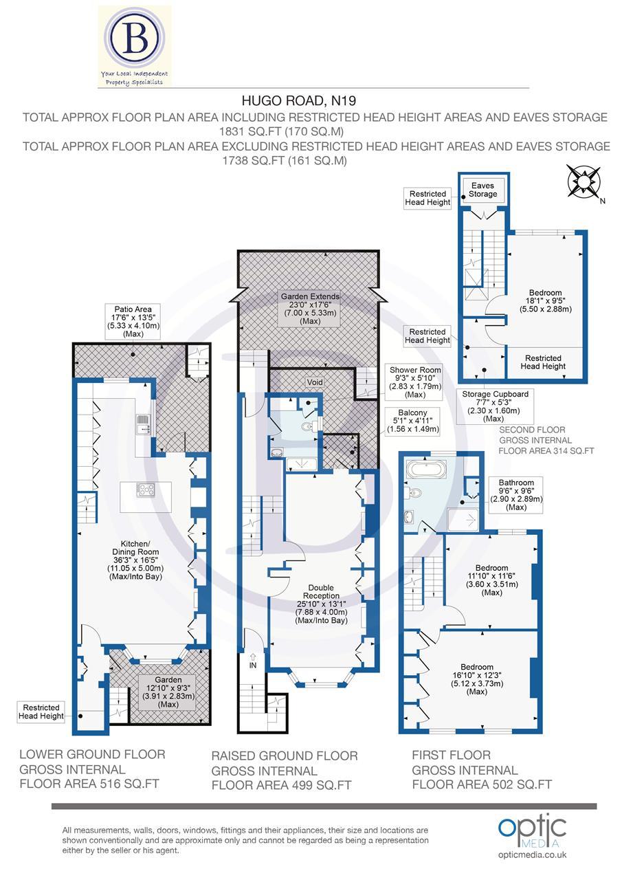 4 bed terraced for sale in Hugo Road, London - Property Floorplan