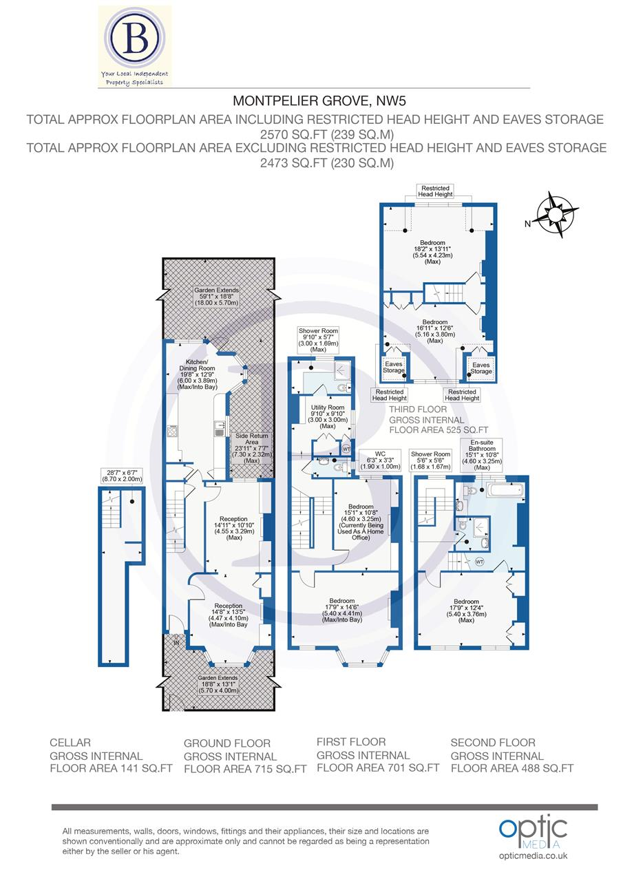 5 bed terraced for sale in Montpelier Grove, London - Property Floorplan