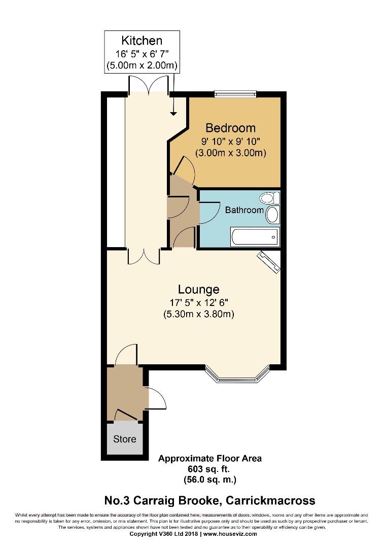 1 bed Terraced for sale on No.3 Carraig Brooke, Carrickmacross, Co. Monaghan - Property Floorplan