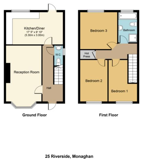 3 bed End of Terrace for sale on No.25 Riverside, Monaghan, Co. Monaghan - Property Floorplan