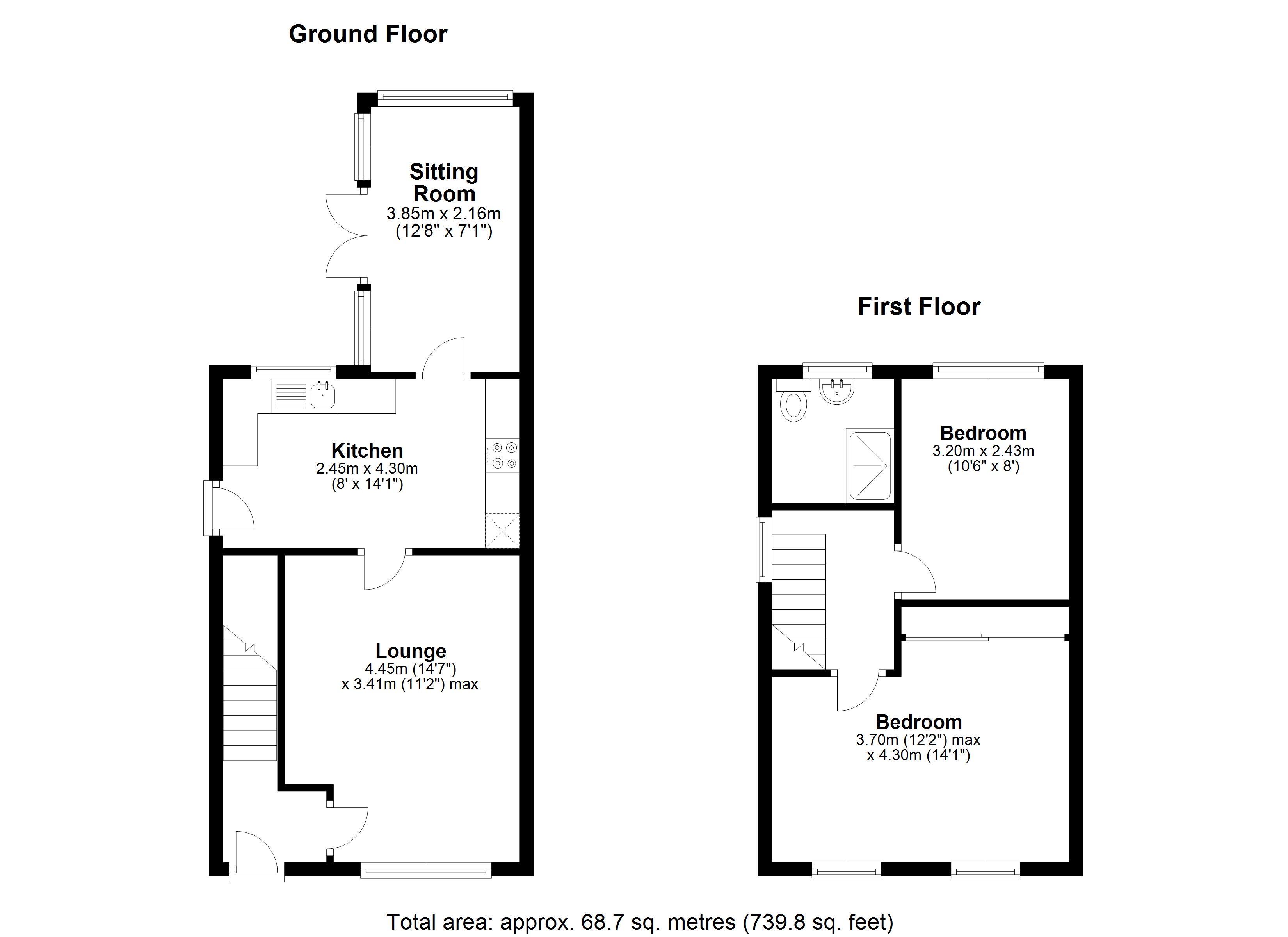 2 bed end of terrace for sale in Woodville Road, Heath Charnock, Adlington - Property Floorplan