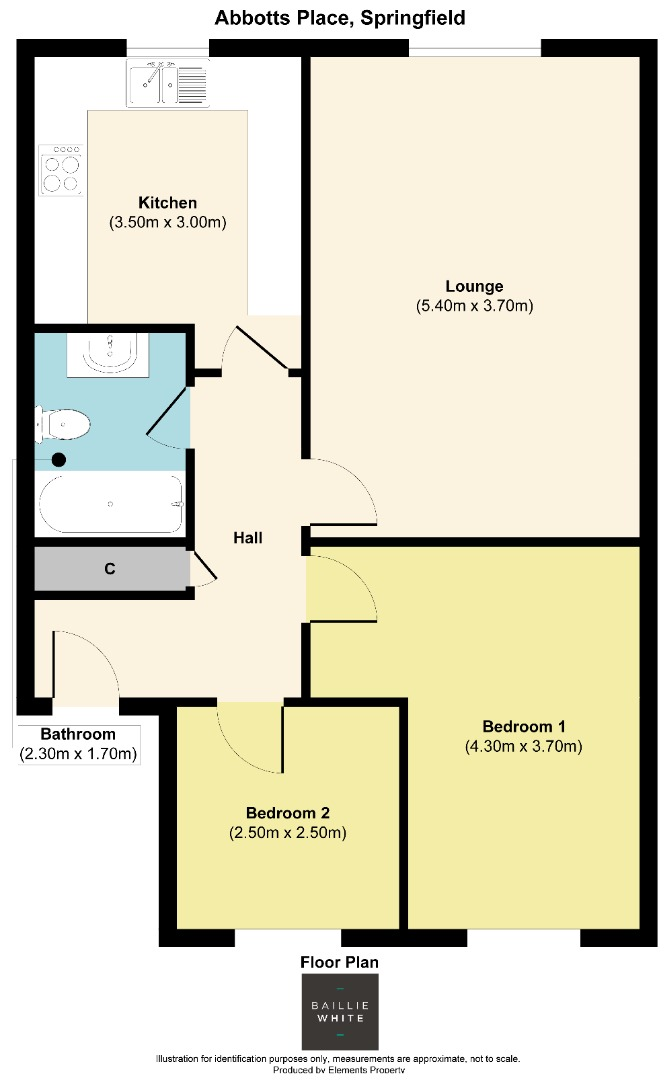 2 bed apartment to rent in Abbotts Place, Chelmsford - Property Floorplan