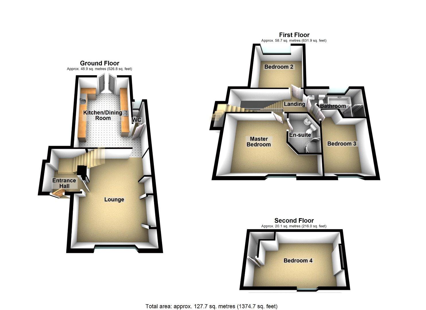 3 bed house for sale in Beckside - Property Floorplan